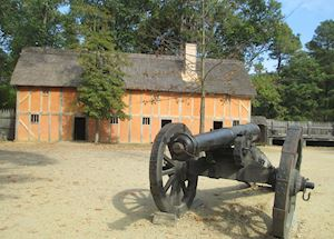 Recreation of the Jamestown settlement, Virginia